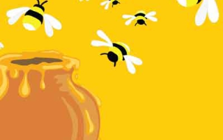 Honey bees around honey pot