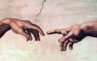 Michelangelo: Adam touching God's hand